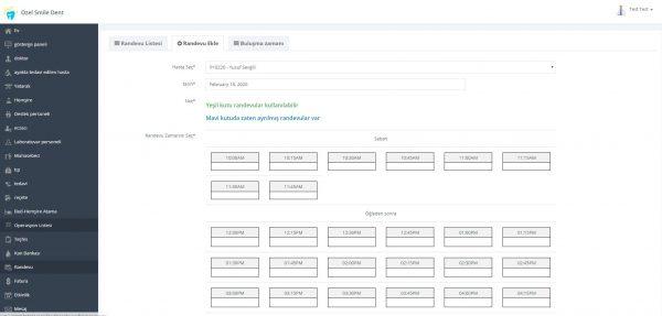 Poliklinik Yönetim Yazılımı Randevu Ekranı 2