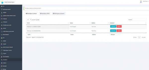 Poliklinik Yönetim Yazılımı Randevu Ekranı