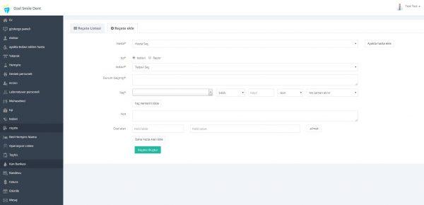 Poliklinik Yönetim Yazılımı Reçete Ekranı